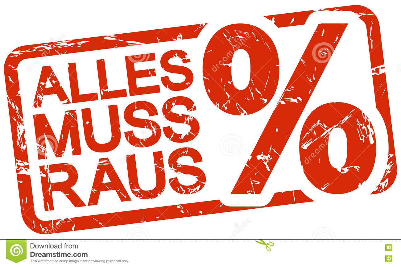 red stamp with text alles muss raus stock vector illustration of percent distribution 80887033. Black Bedroom Furniture Sets. Home Design Ideas
