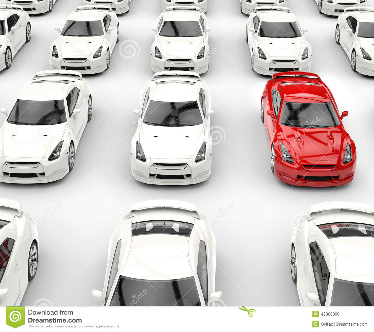 red stand out car among many white cars stock photo. Black Bedroom Furniture Sets. Home Design Ideas