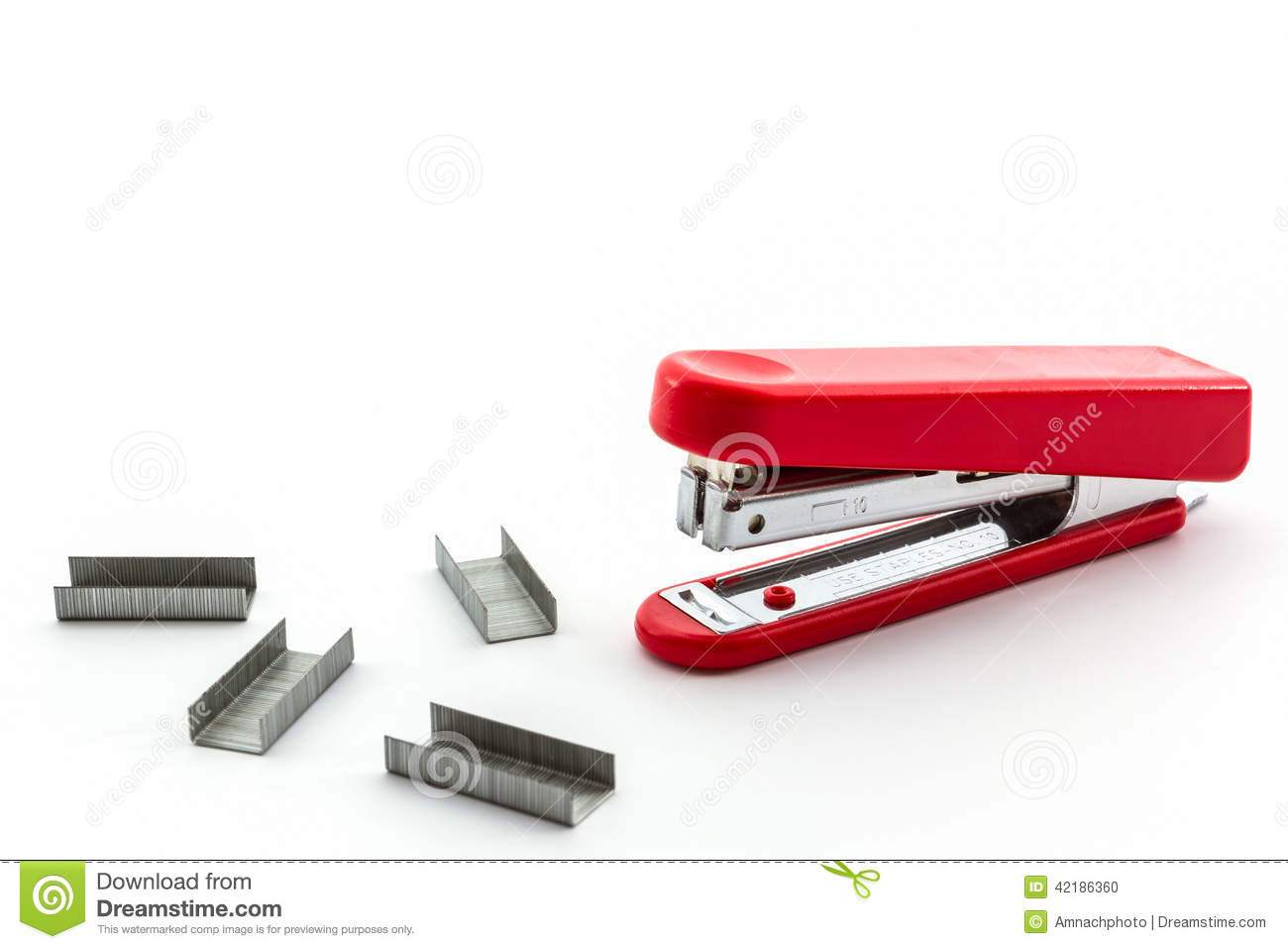 Red Stapler With Staples Wires. Stock Photo - Image of iron, plastic ...