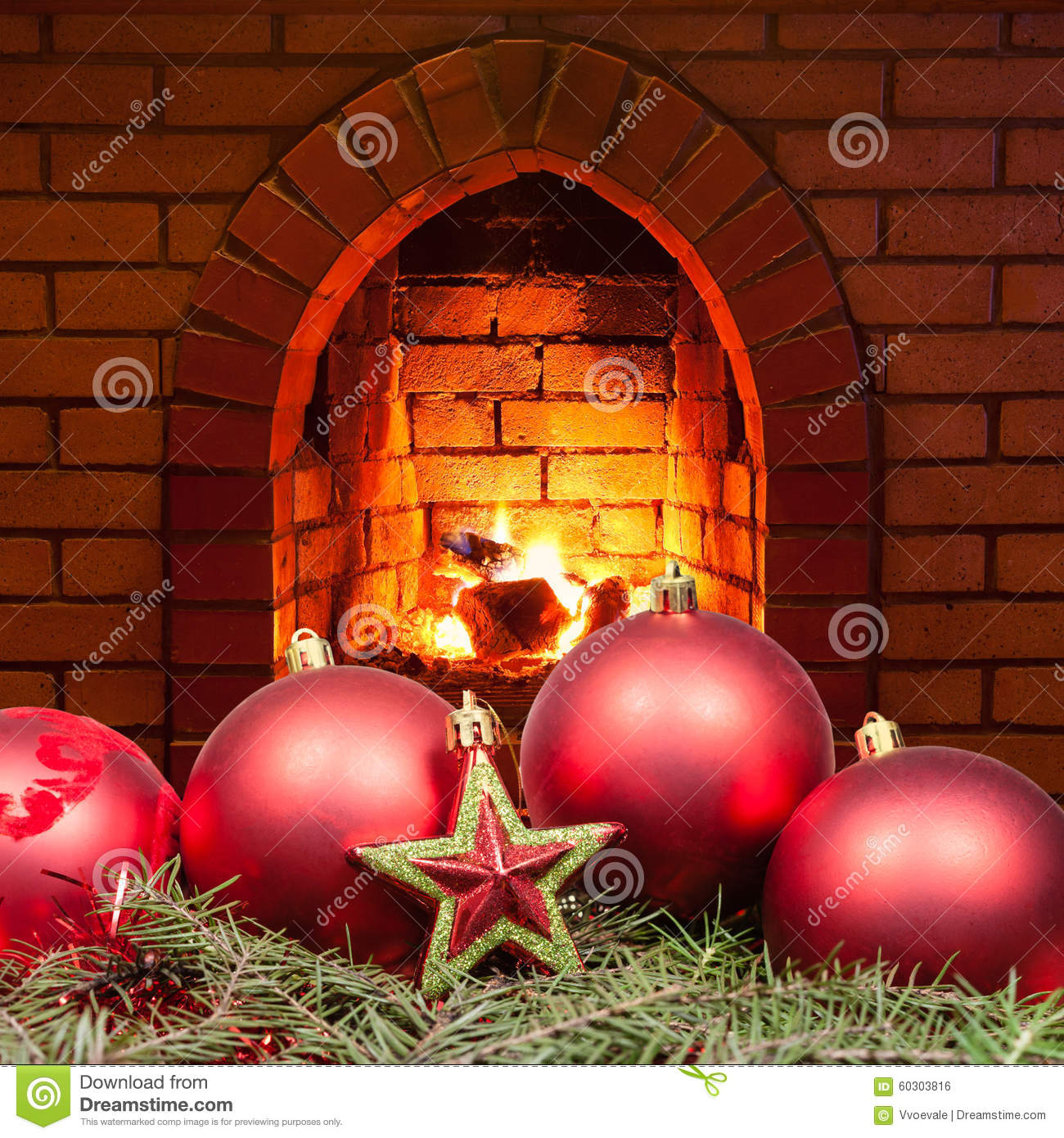 Red star and Xmas bubles and home fireplace