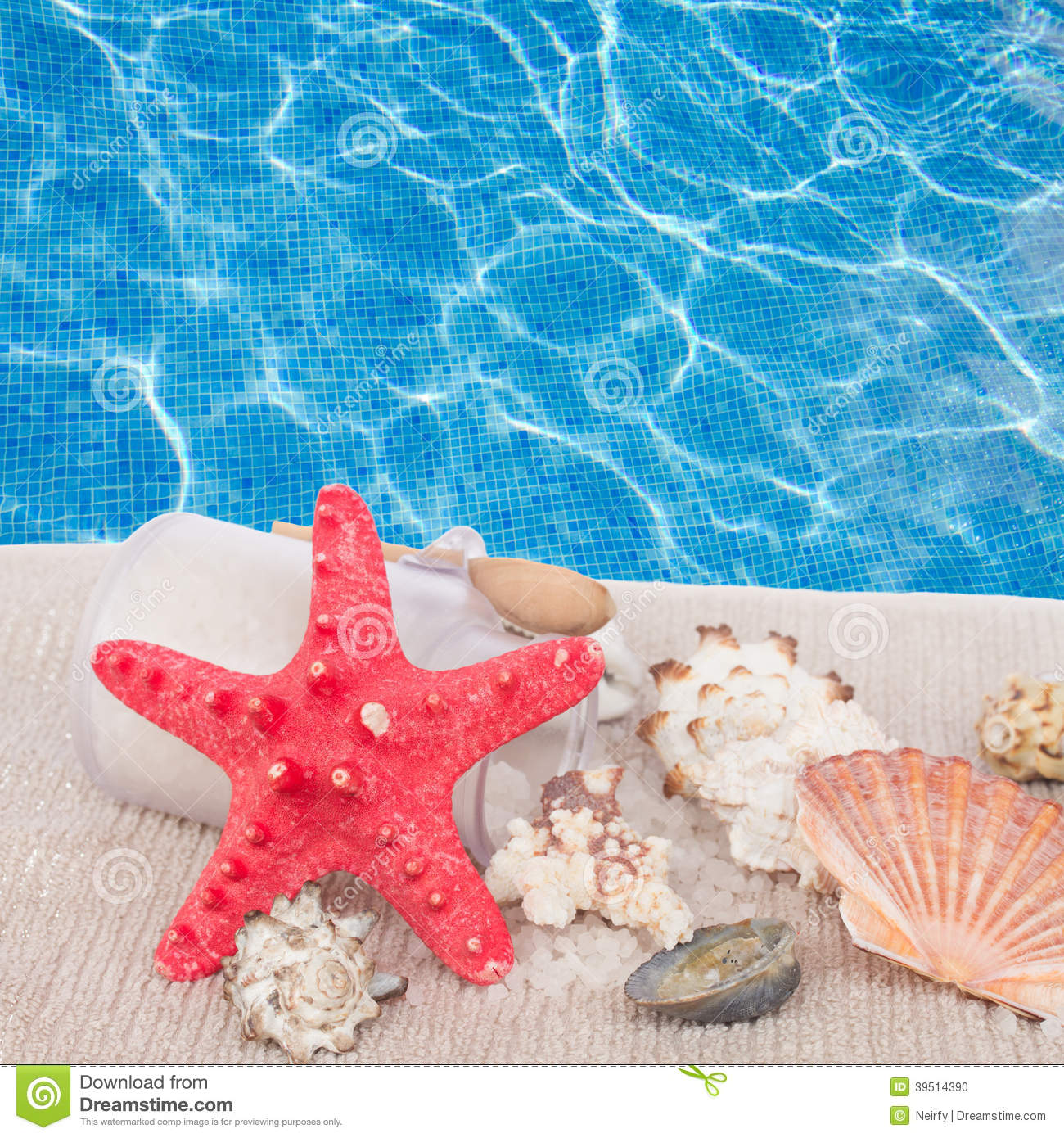 Red starfish with sea spa setting
