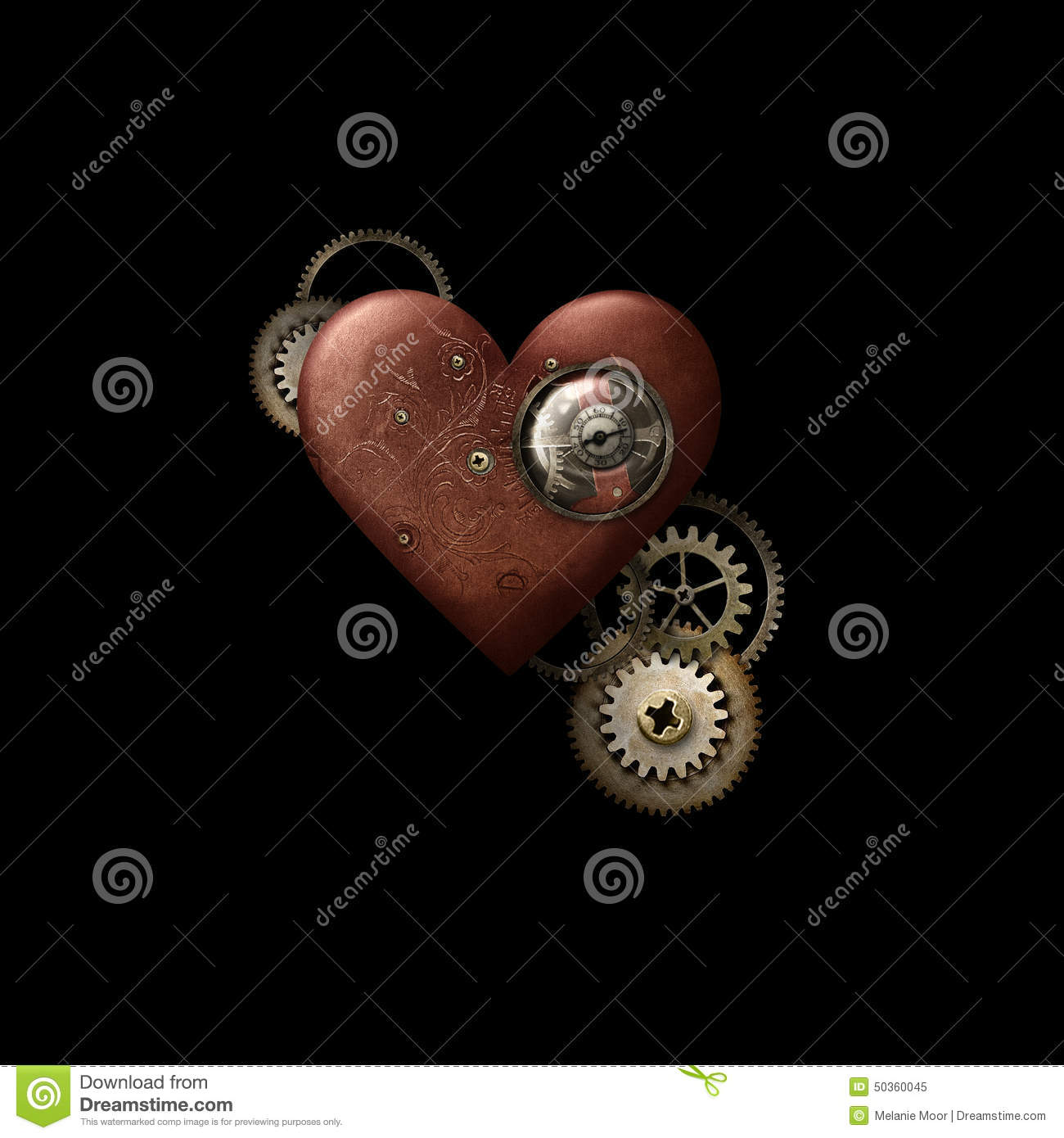Red Steampunk Heart on Black