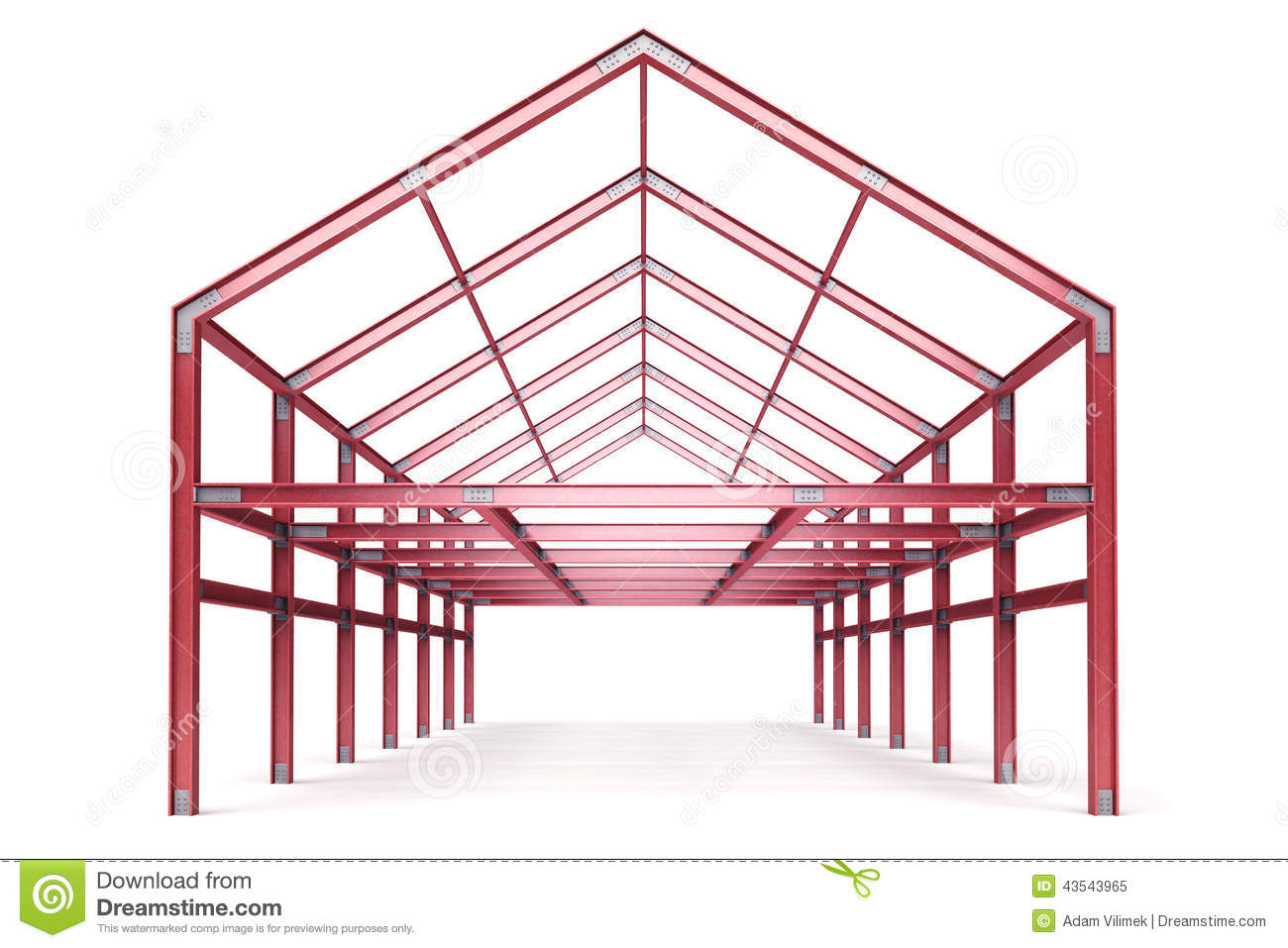 Steel Frame Work : Red steel framework building front perspective view stock