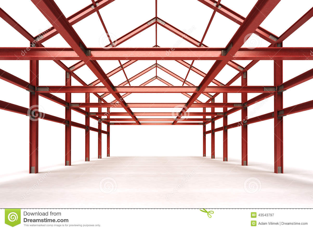 Red Steel Framework Building Indoor Perspective View Stock