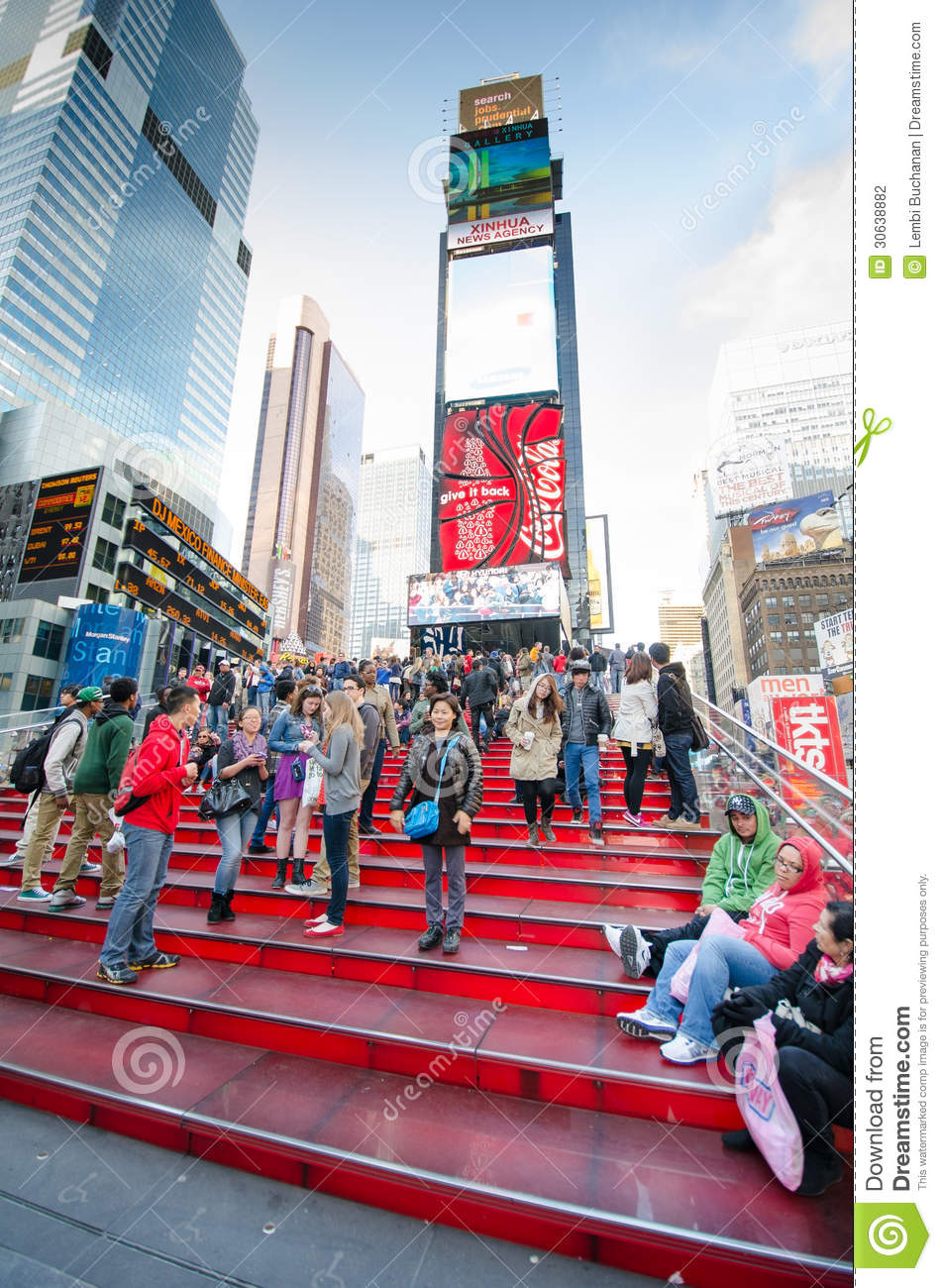 Red Steps At Tkts Booth Times Square Editorial Photography