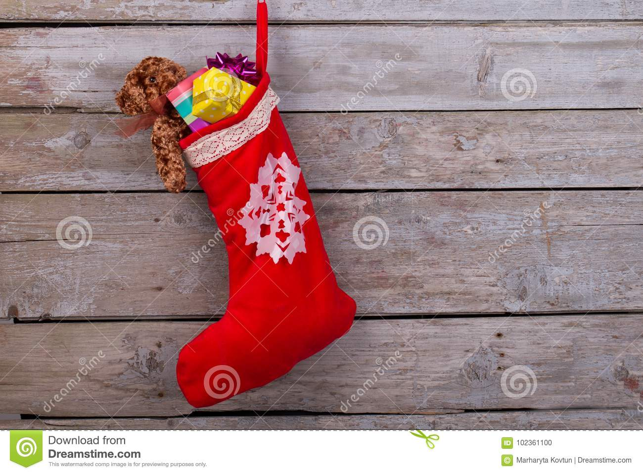 Red stocking filled with gifts
