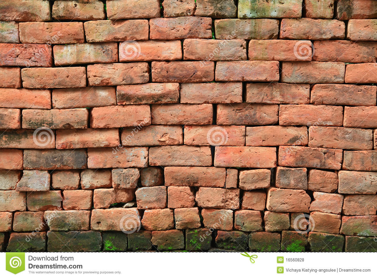Red Brick Stone : Red stone brick wall with moss royalty free stock photos