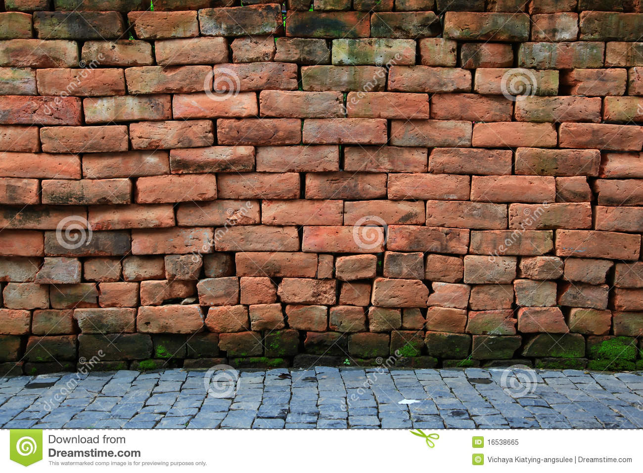 Red Brick Stone : Red stone brick wall with pavement royalty free stock