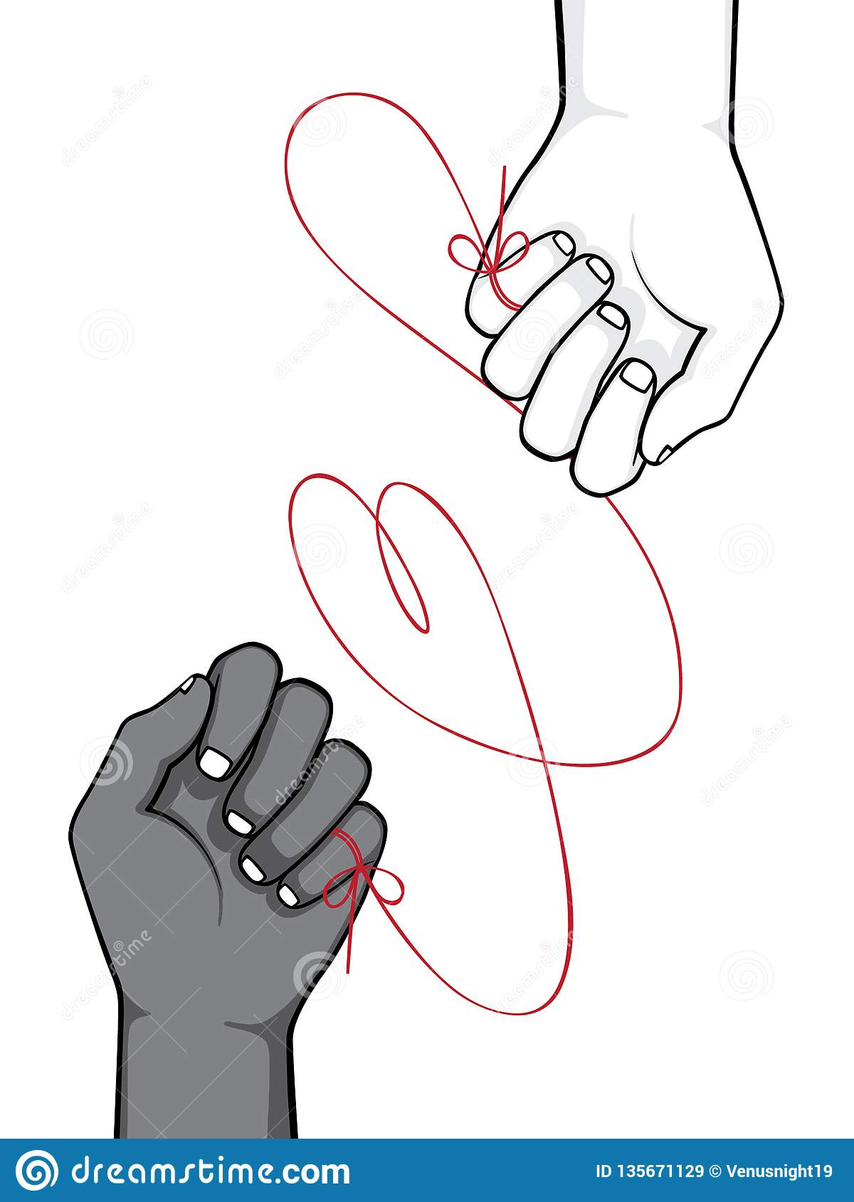 Red String Of Fate Stock Vector Illustration Of Myth 135671129