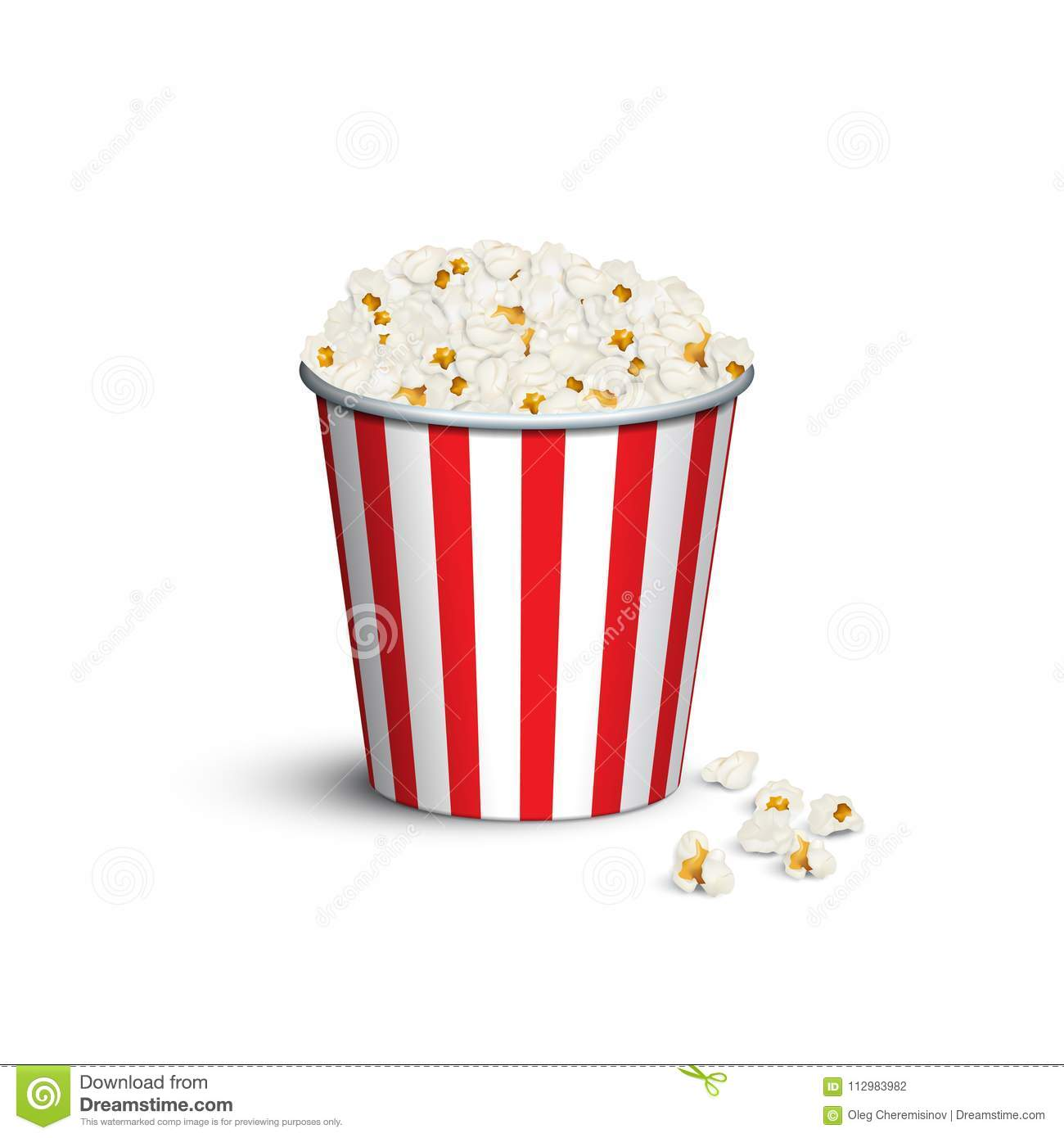 Red striped popcorn bucket. Vector popcorn box.