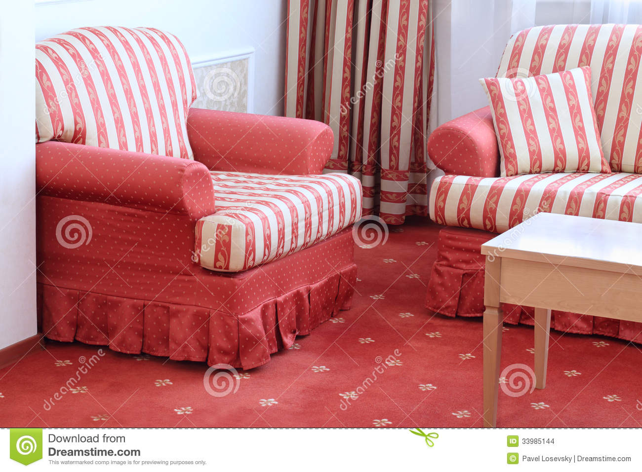 Red Striped Sofa With Pillow And Armchair Stock Photo - Image of ...