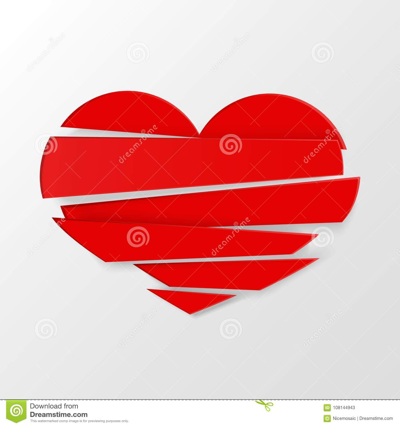 Red stripes broken heart vector on white background could be used as icon sign symbol flag sticker badge vector icon stock clipart