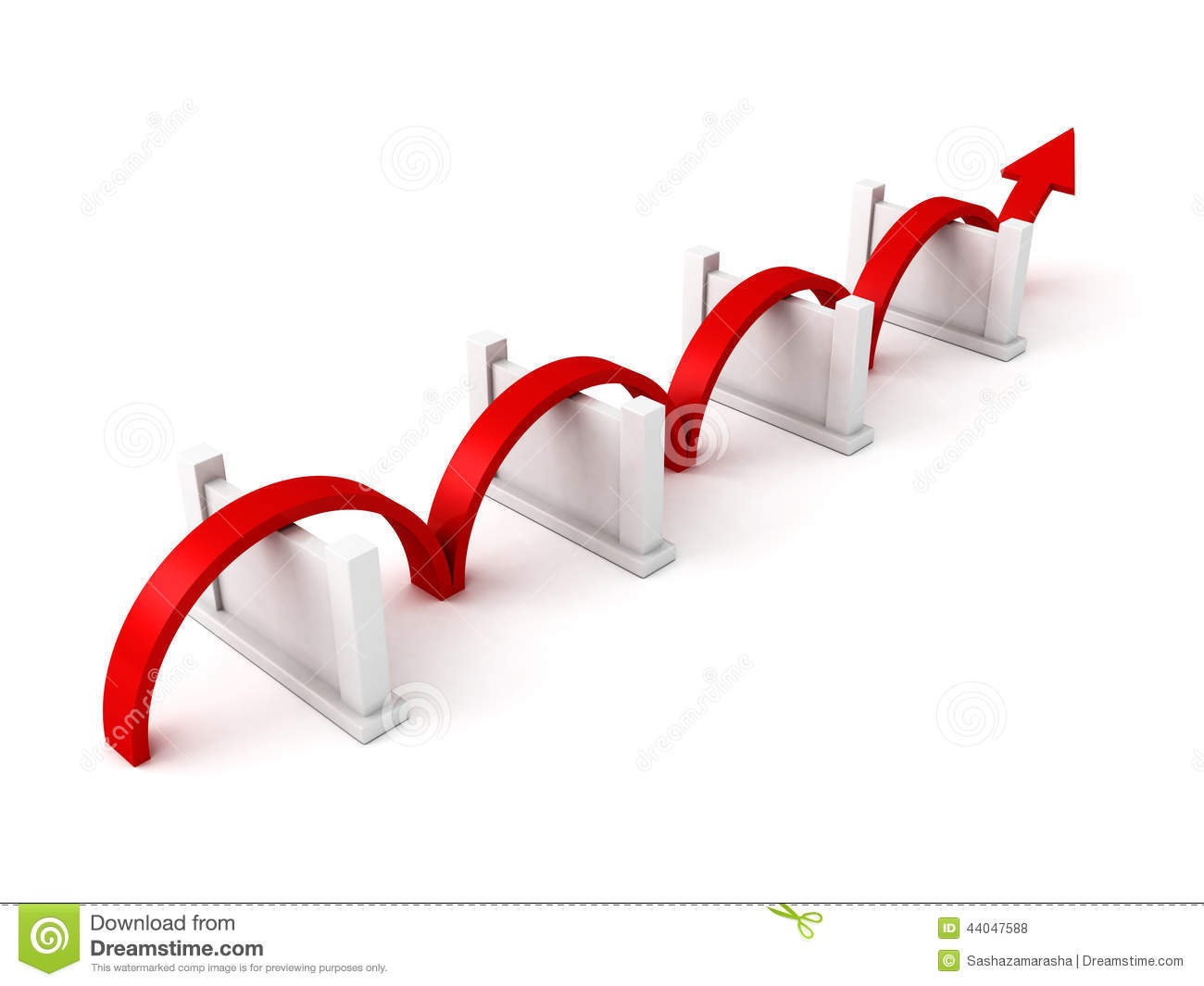 Red success arrow overcome barriers stock illustration
