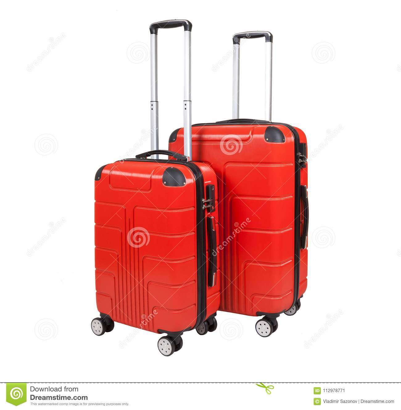 Red suitcase isolated on white background.