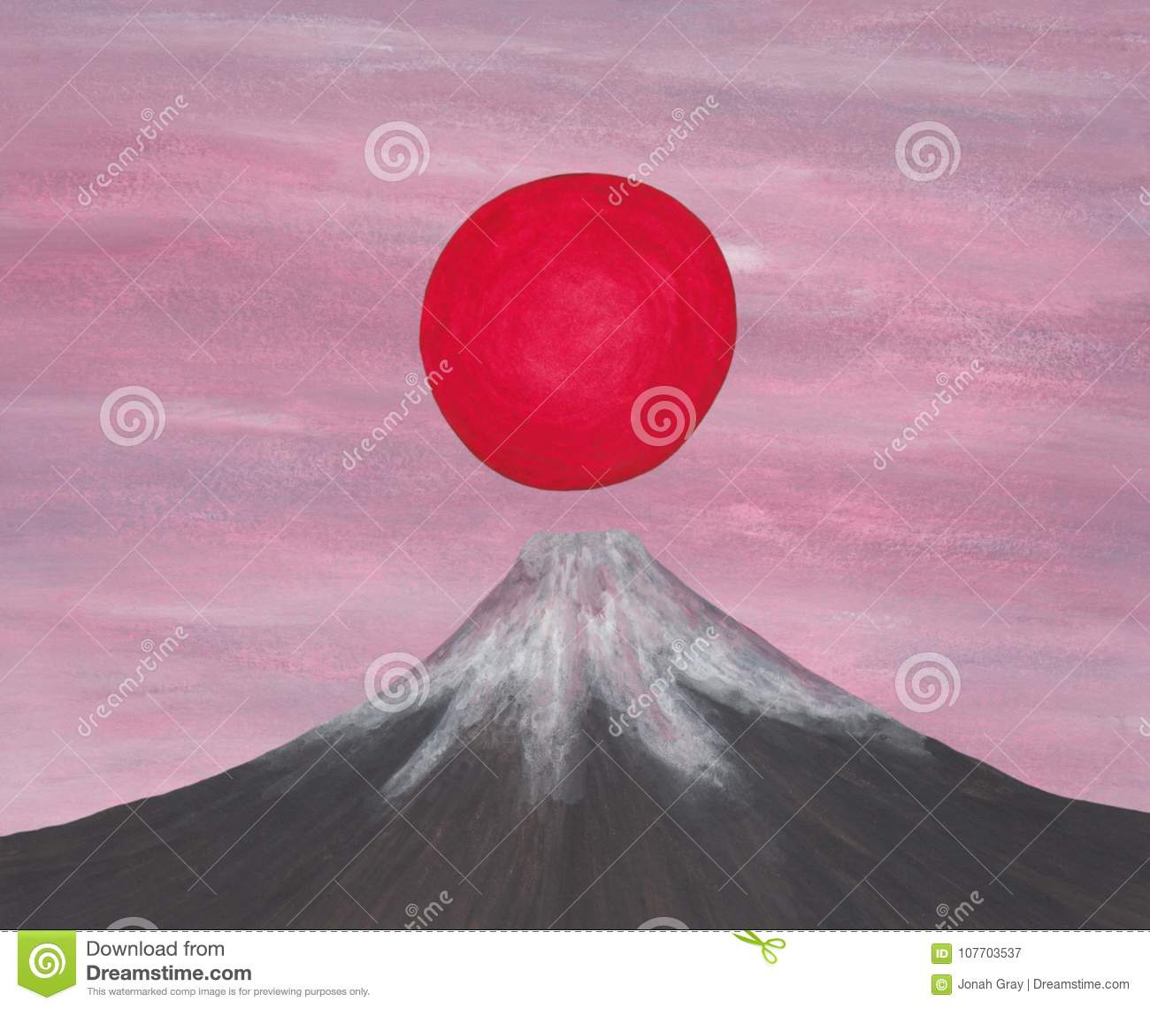 Red sun rising above japan fuji mountain, from my self created image series `The Spirit of Asia II, 2018`
