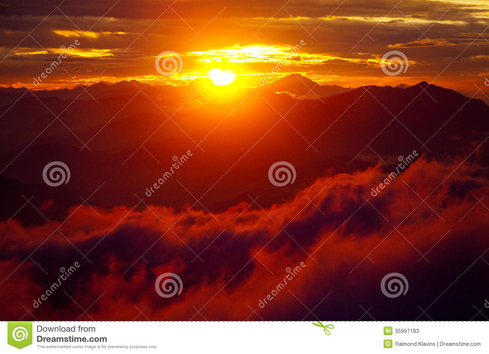 Red Sunset Himalayas Mountain Nepal