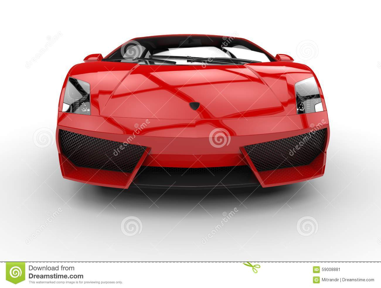 Red Supercar Front View Stock Photo Image