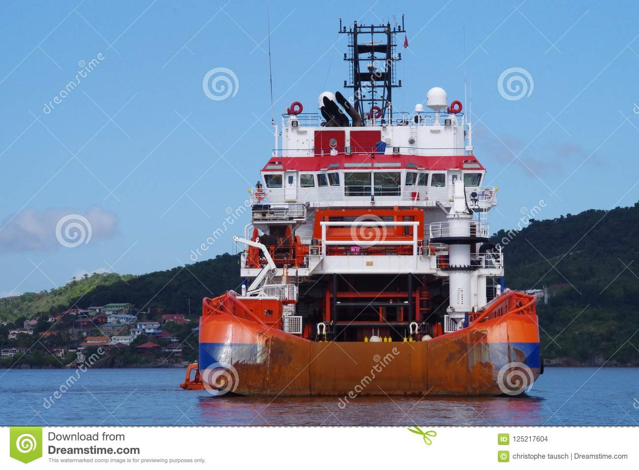 Supply vessel at the anchorage waiting for next contract within Oil and Gas industry.