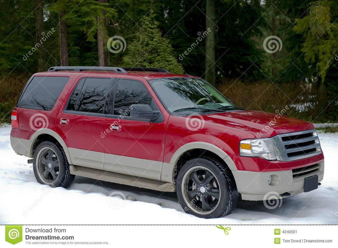 Red Suv In Winter Stock Image Image