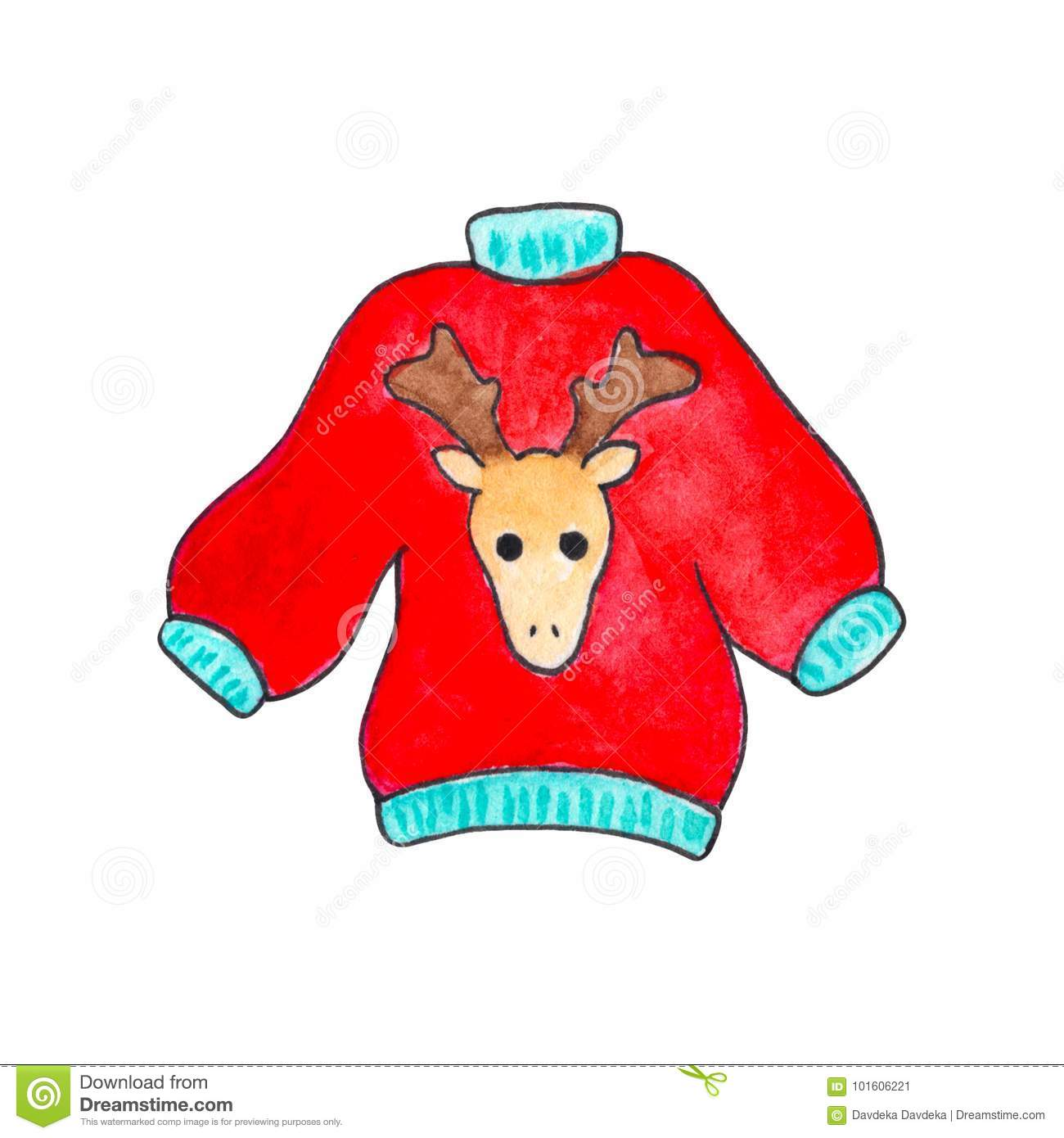 69d15b8d6f3b Red Sweater With Deer By Watercolor On White Background. Winter ...