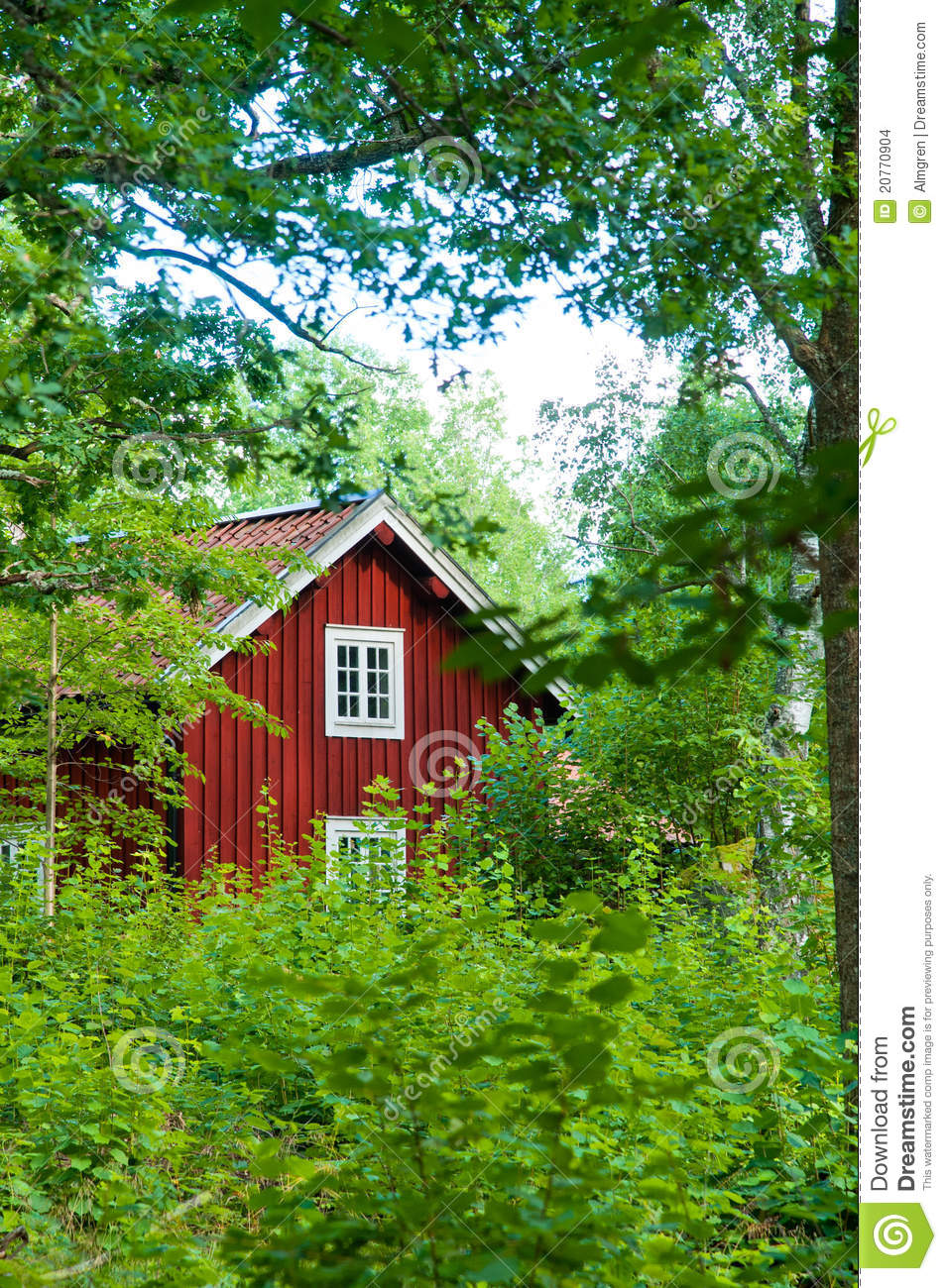 Red Swedish Cottage Stock Images Image 20770904