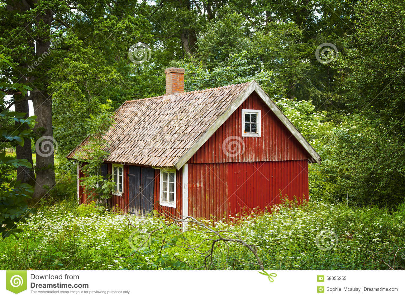 Red swedish cottage stock image image of north beautiful 58055255 - Cottage image ...