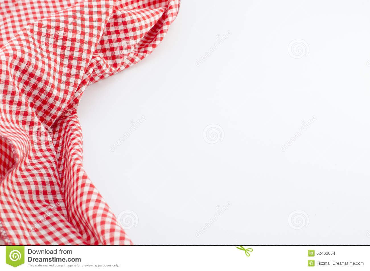 Red Tablecloth Textile On White Background Stock Photo