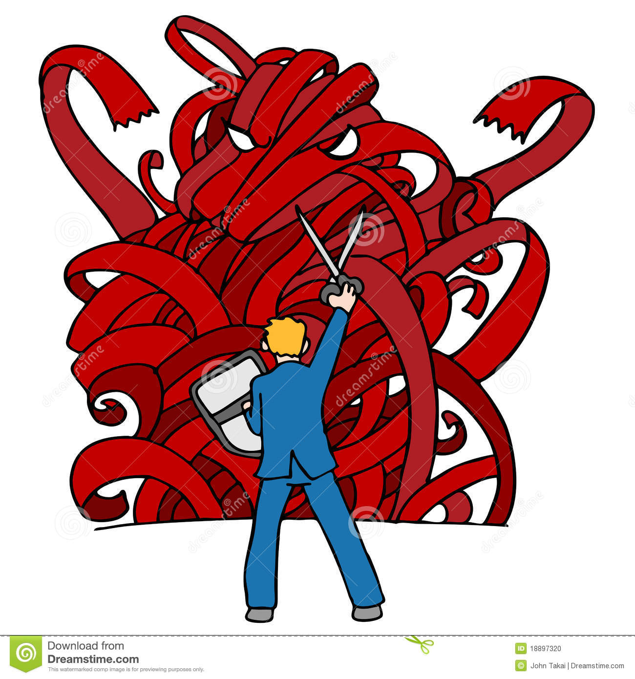 Red Tape Monster stock vector. Illustration of doodle ...