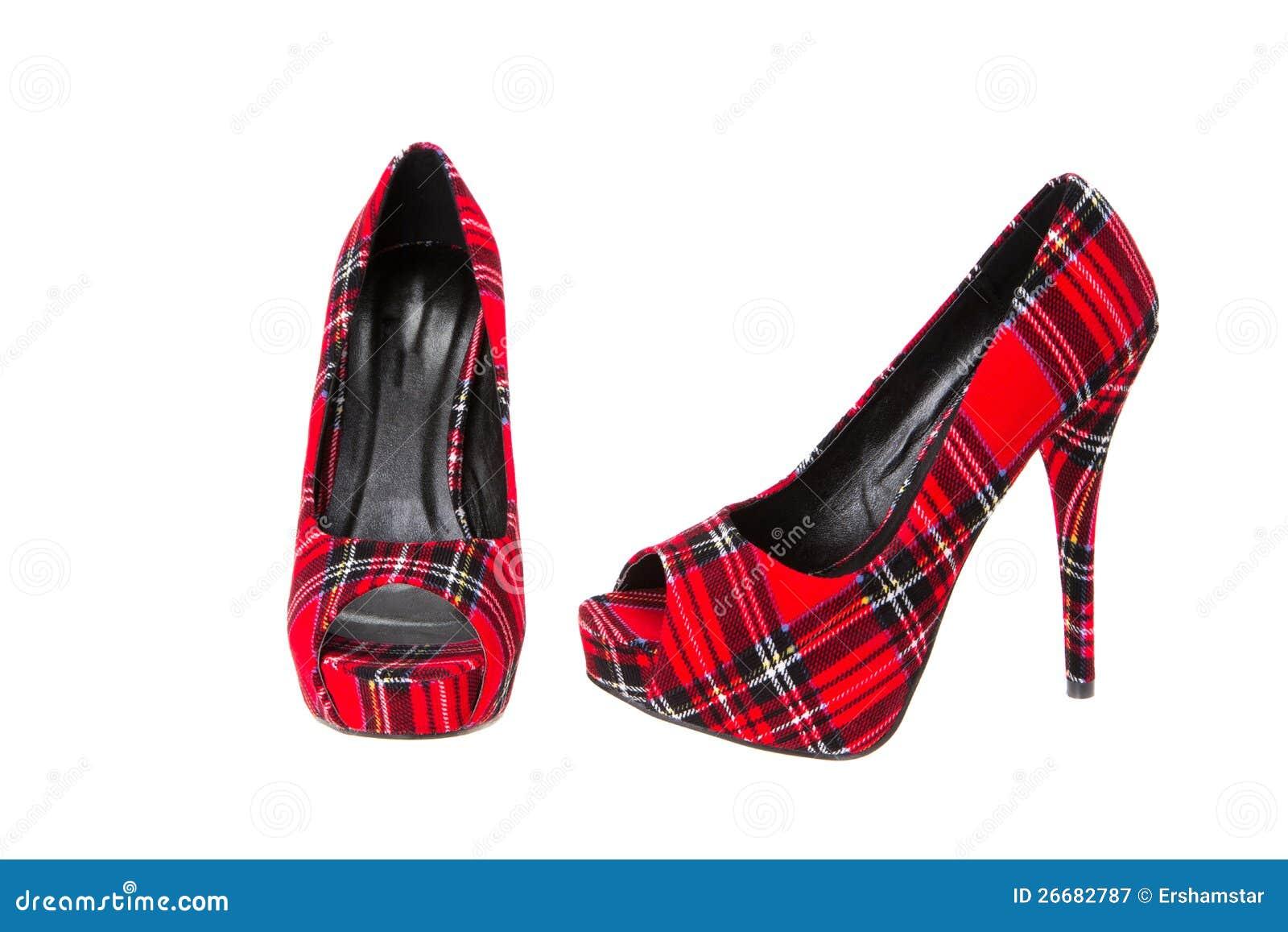 Red Tartan High Heeled Stiletto Shoes