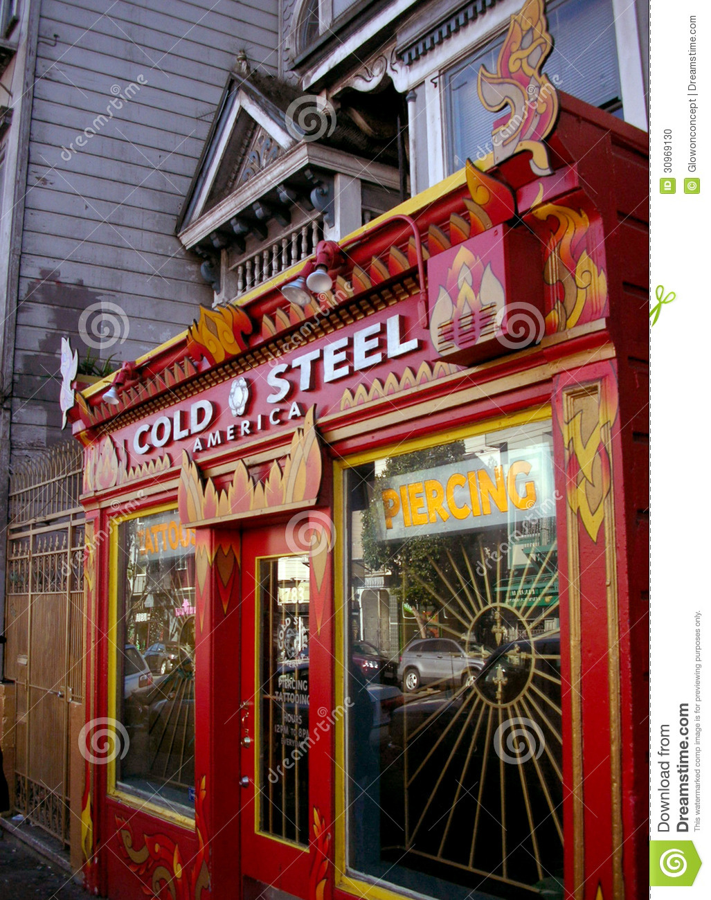 Shop America red tattoo shop in america editorial image - image: 30969130