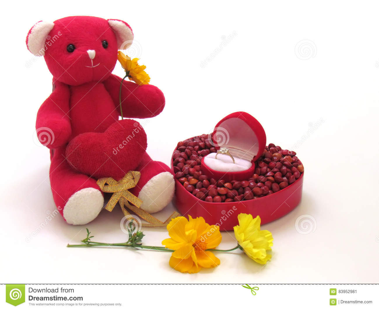 b3dee504 Red Teddy Bear Sit Hold The Red Heart By Side With Red Box Heart ...