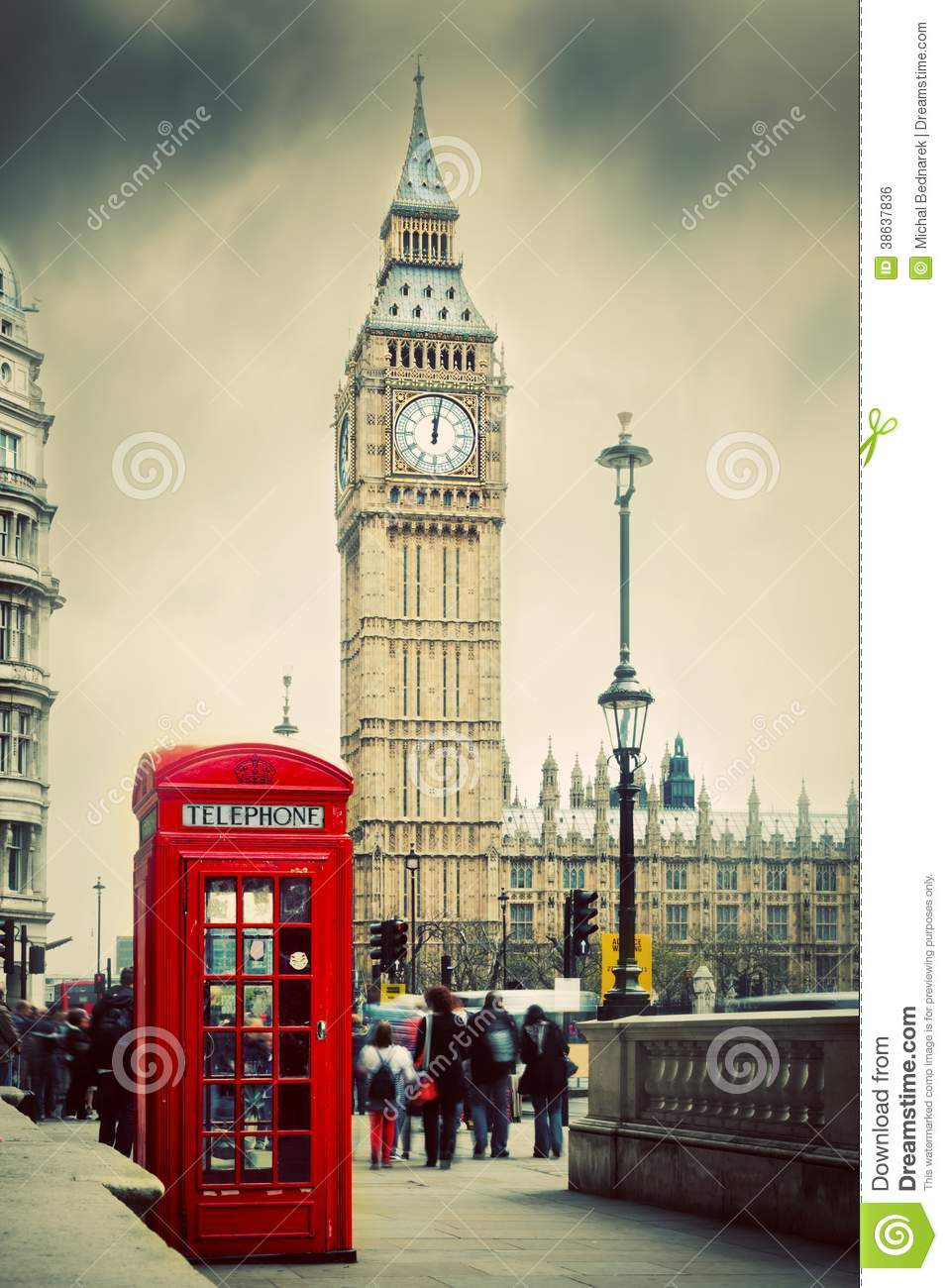 Red Telephone Booth And Big Ben In London, UK. Stock Photo ...