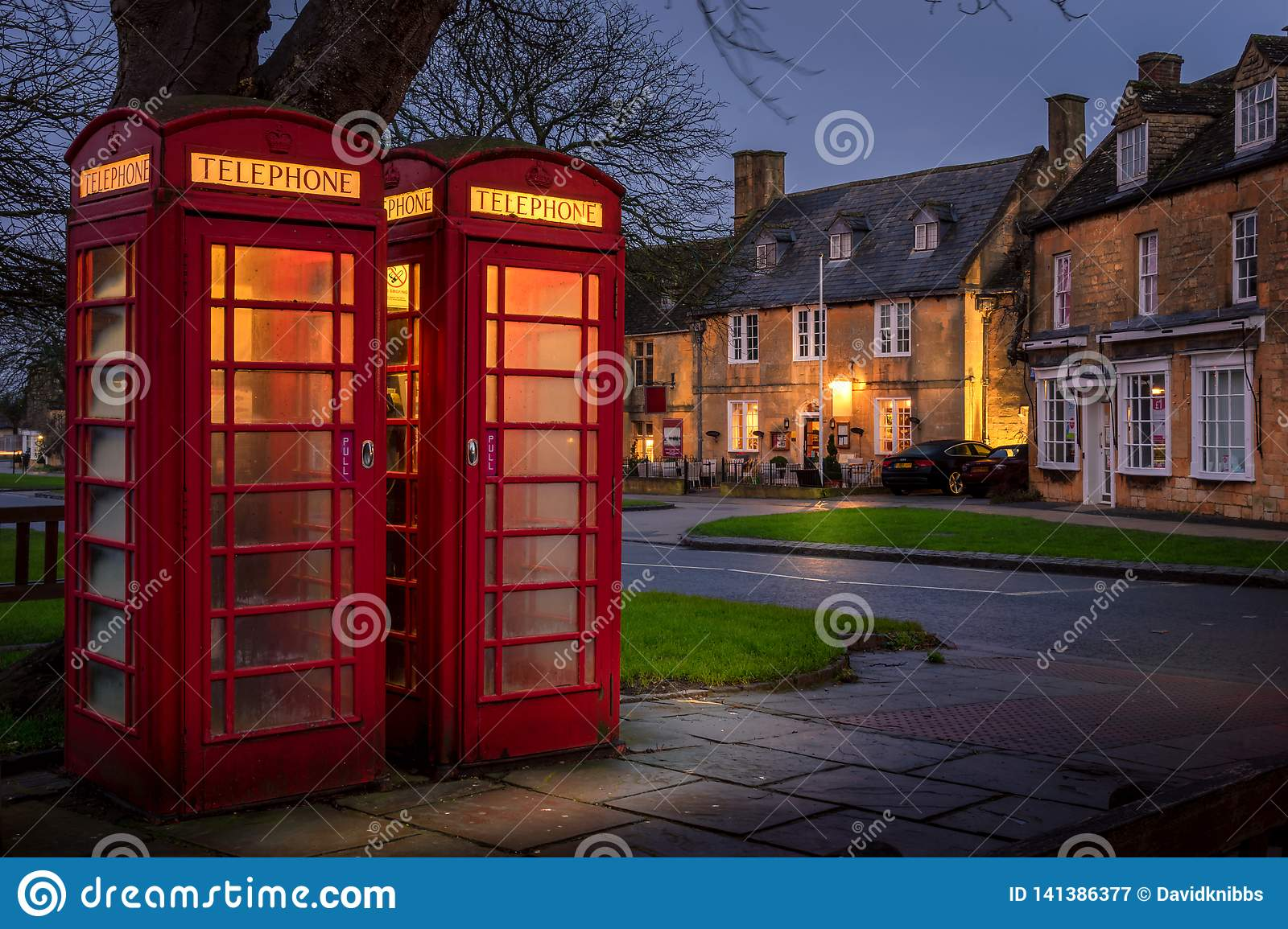 Red Telephone box in broadway, cotswolds, gloucestershire