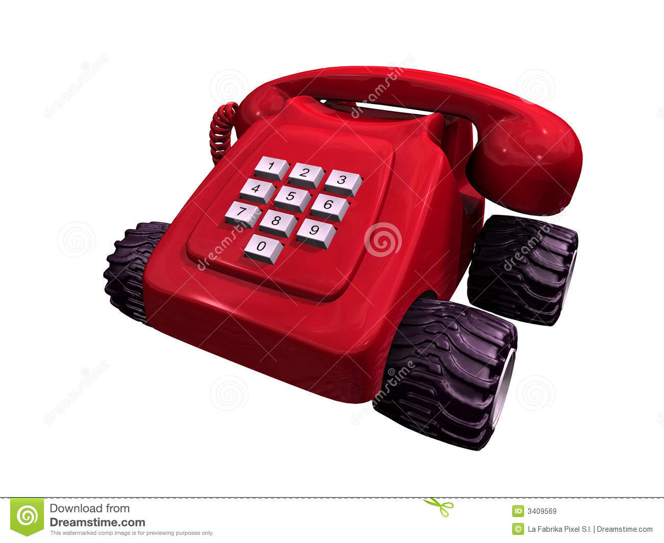 Red Telephone On Wheels Royalty Free Stock Images - Image: 3409569