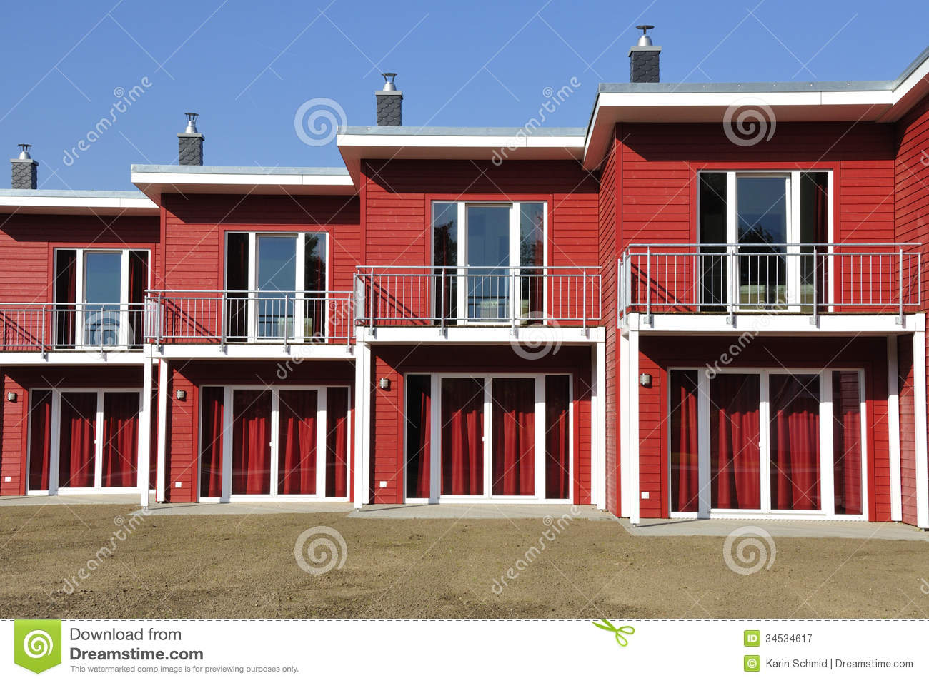 Modern terraced family house with a balcony royalty free for Whats a terraced house