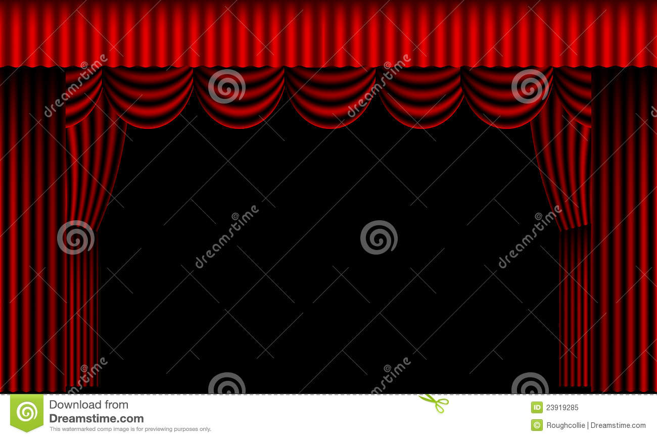 Beautiful Curtains Draped Red Stage Theater ...