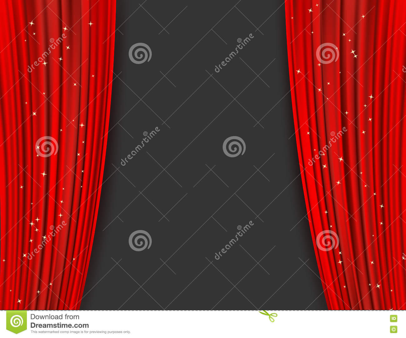 Red Theater Curtains With Glitter. Abstract Background