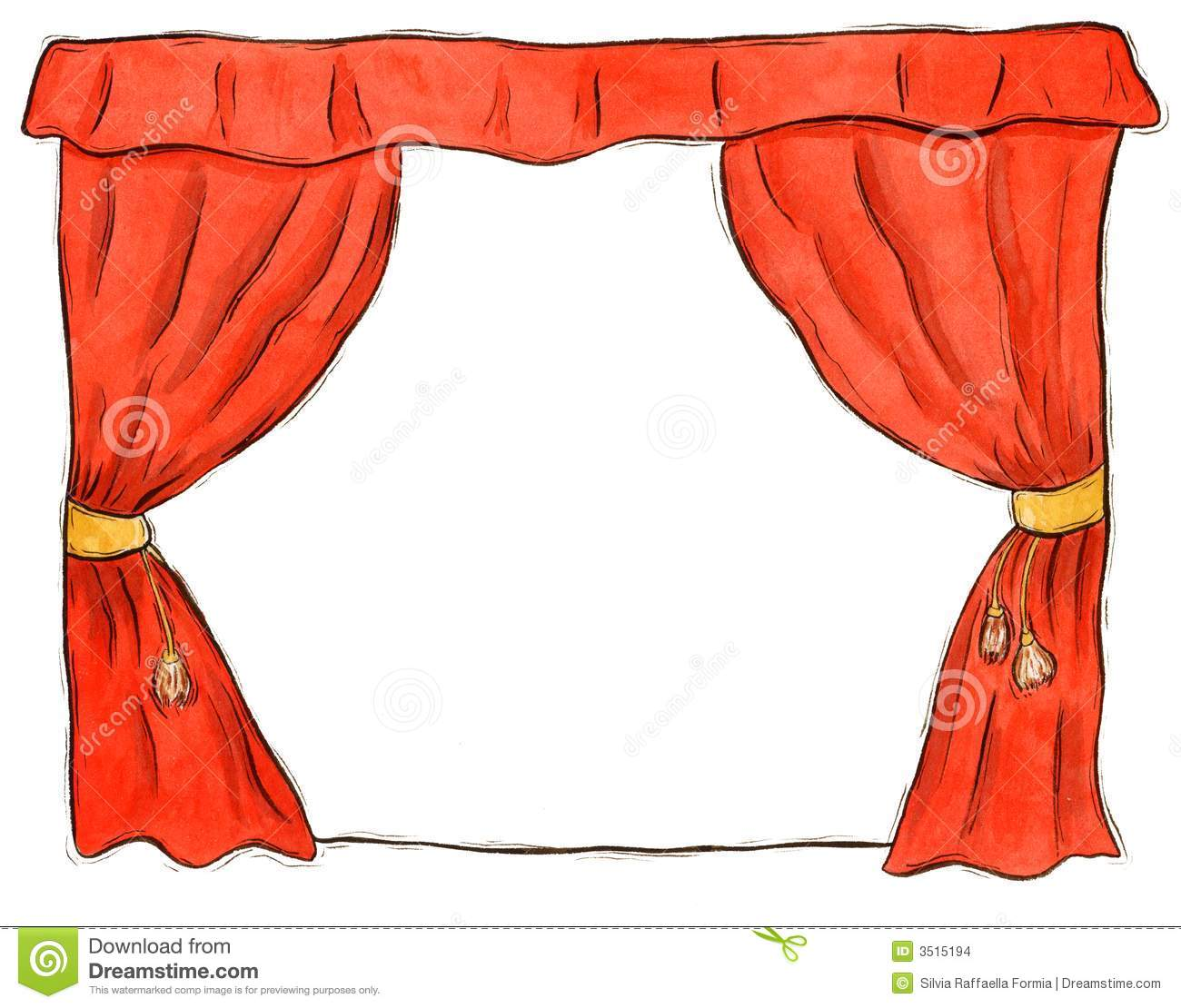 Stage curtain border red theatre curtain