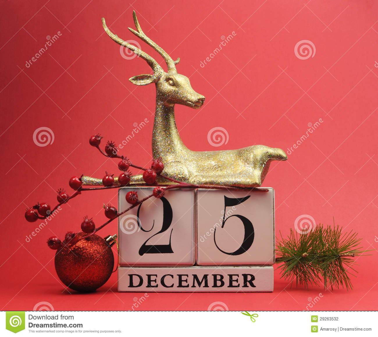 red theme save the date calendar for christmas day december 25