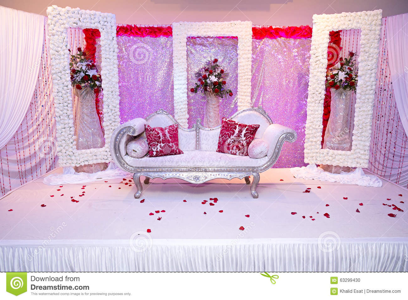 Red themed wedding stage stock photo. Image of wedding - 63299430
