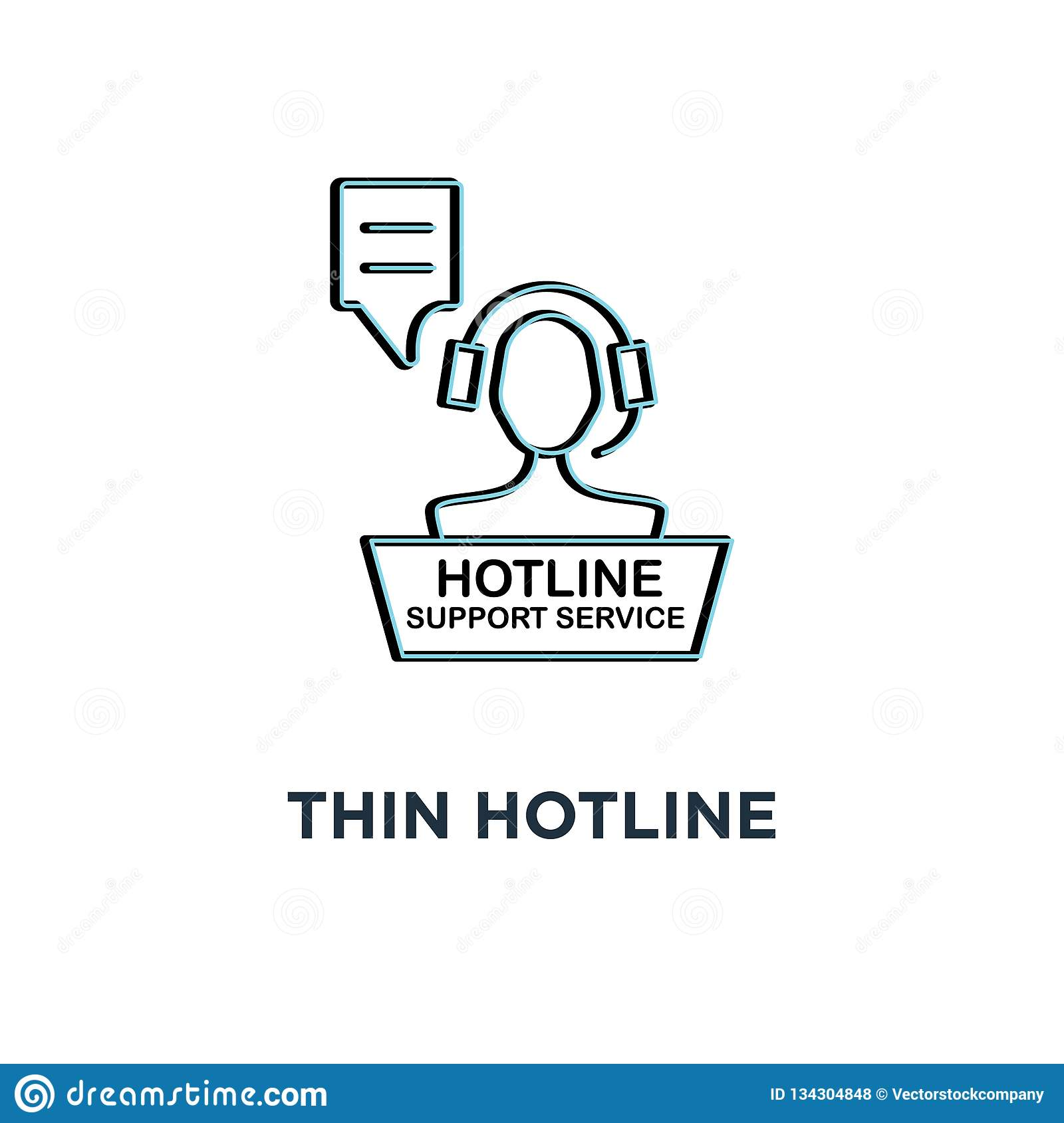 red thin hotline support service icon, symbol 24/7 help contact for client by adviser or counselor concept simple linear style