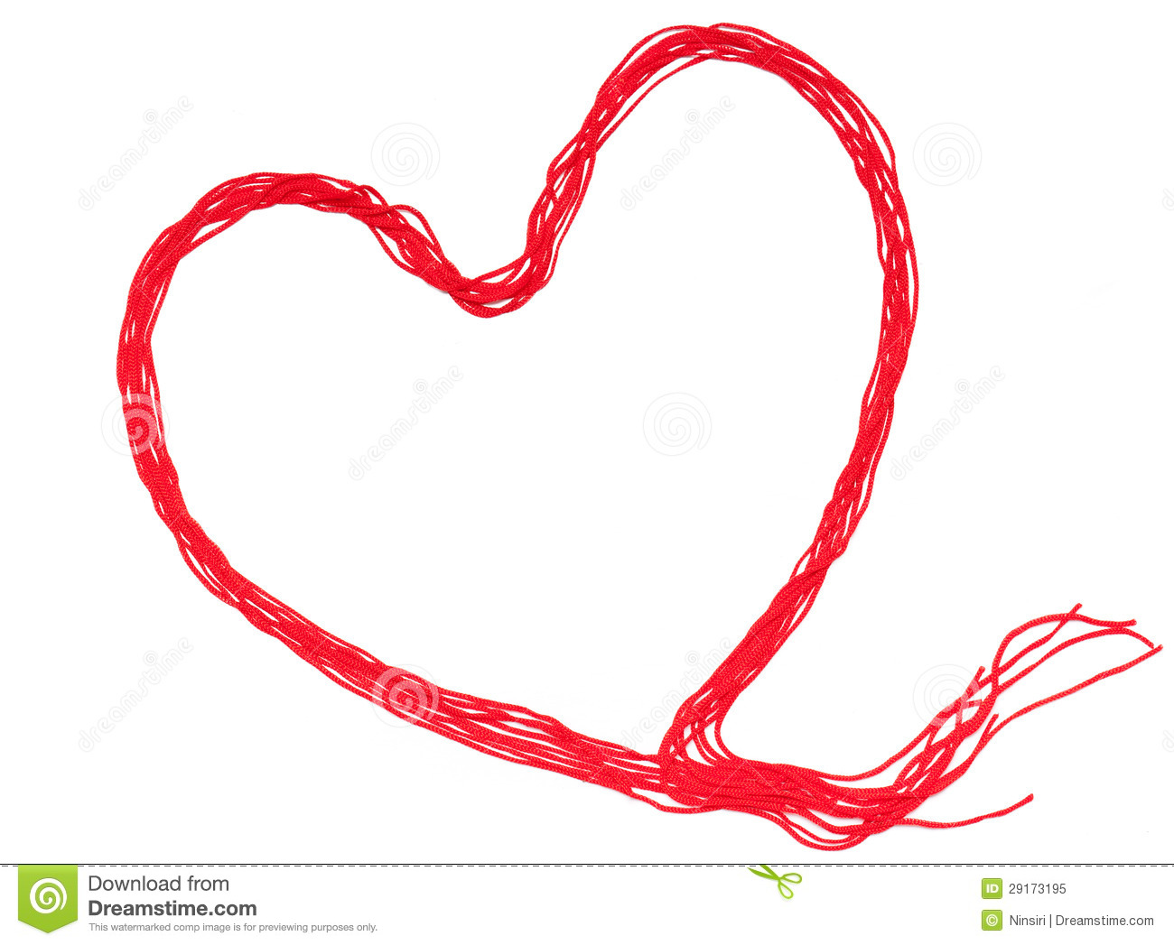 Red Thread With Heart Sign Isolated On White Background ...