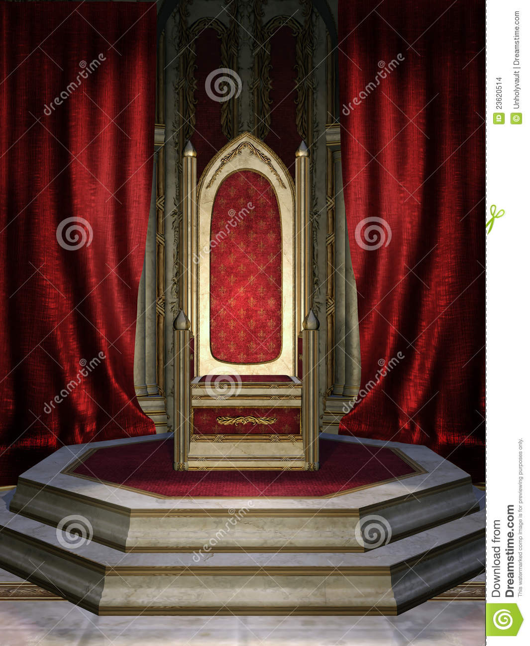 Fantasy throne room with red curtains