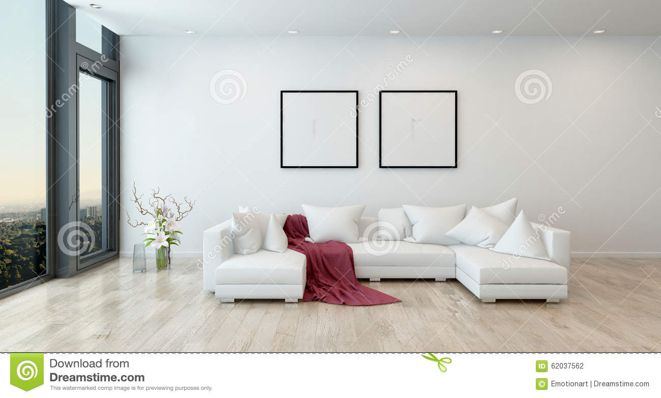 Red Throw On White Sofa In Modern Living Room. Architectural Interior Of  Open Concept Apartment