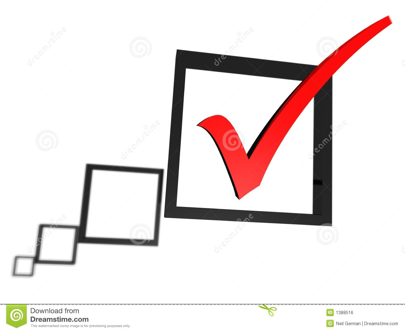 Red Tick Box : Red tick in a check box list royalty free stock image
