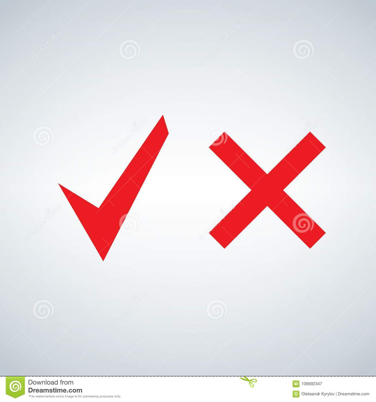 Red Tick And Cross Signs Button For Vote Yes And No Stock