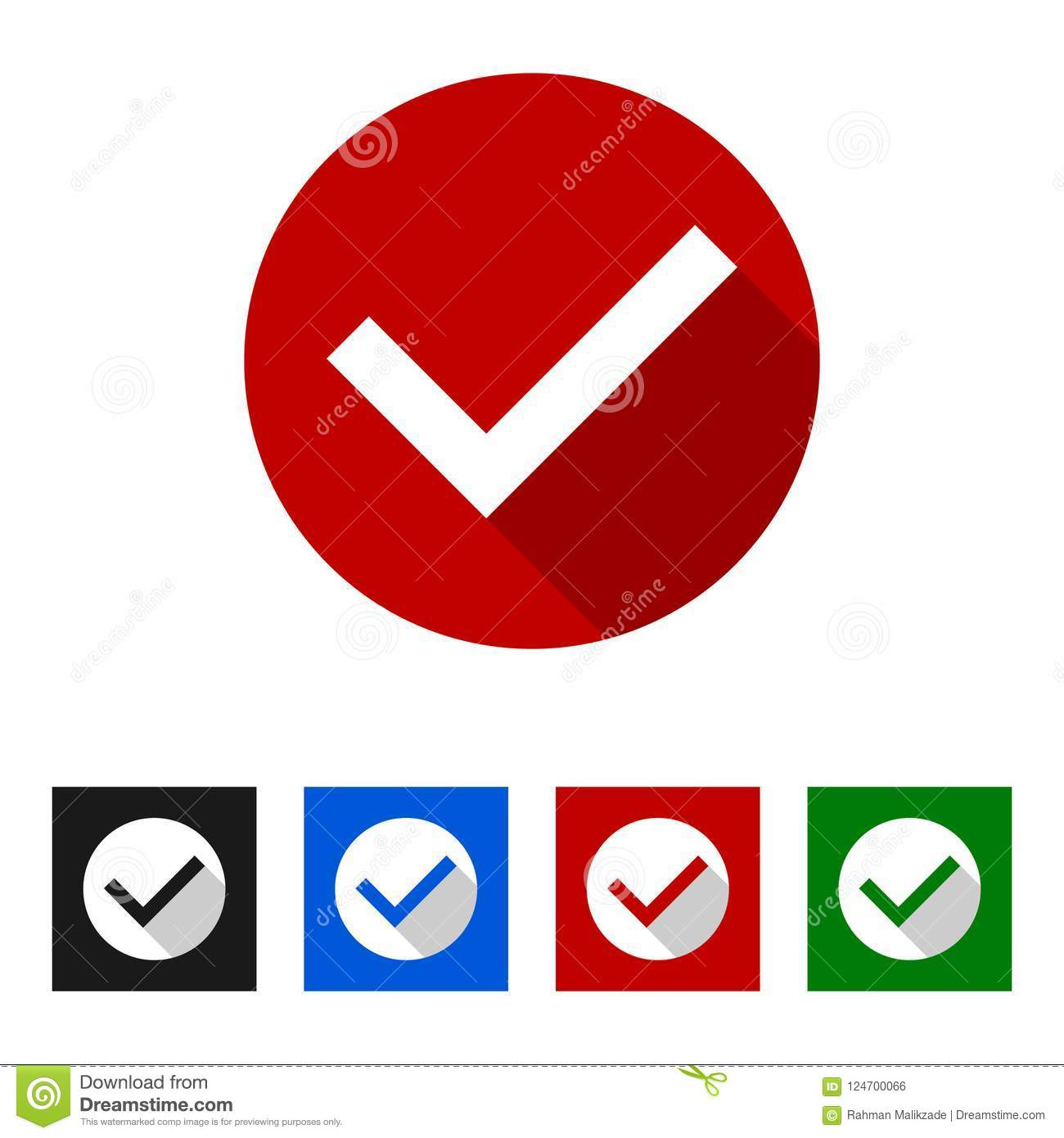 Red Tick Icon Vector Illustration Isolated On White Background Stock