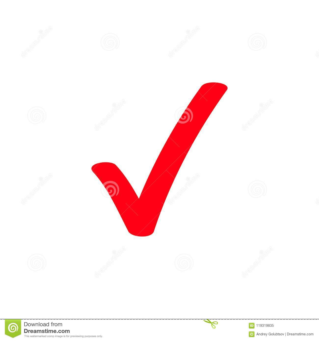 Red Tick Marker Checkmark Vector Icon Stock Vector Illustration Of