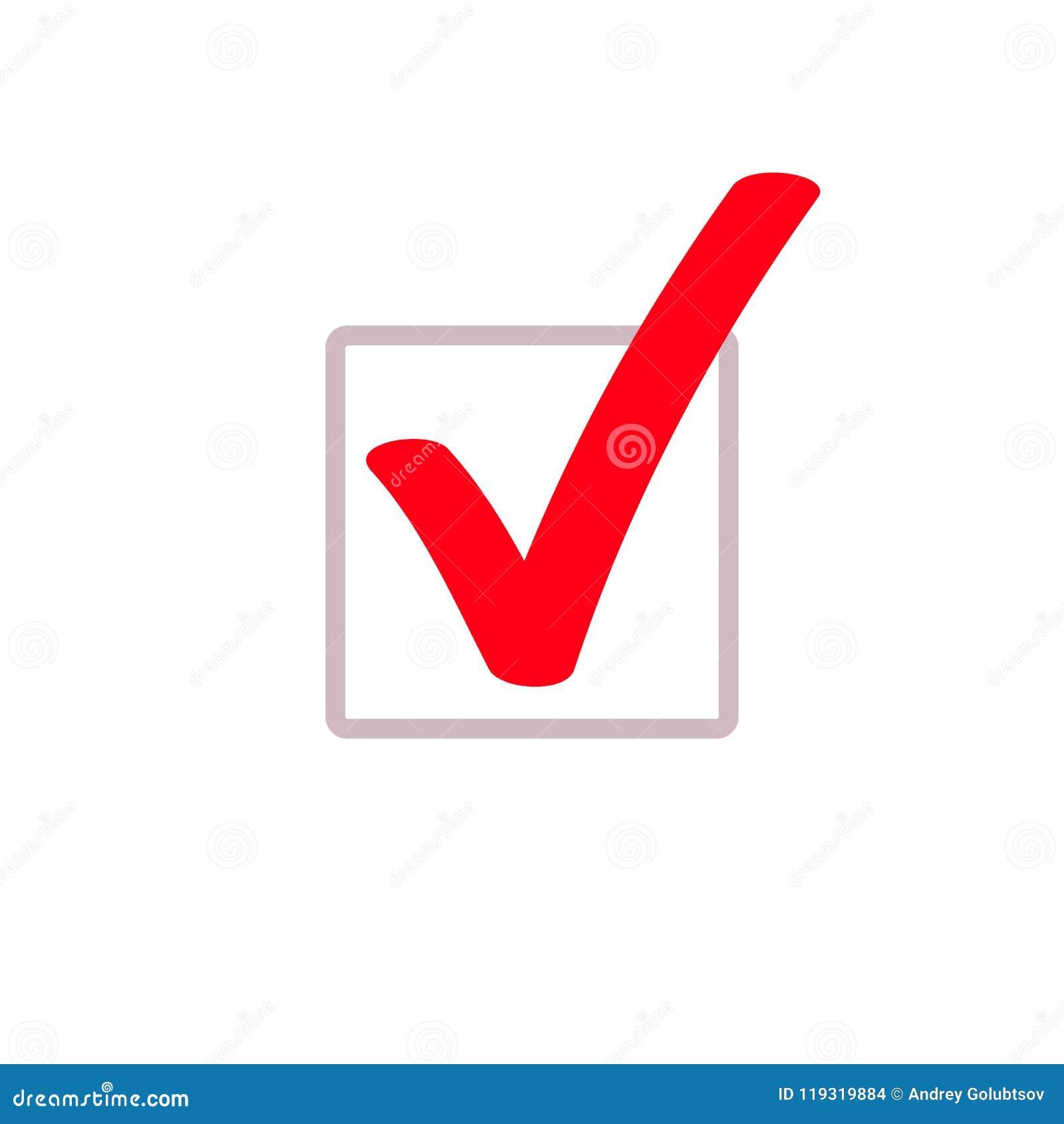 Red tick marker checkmark vector square box icon