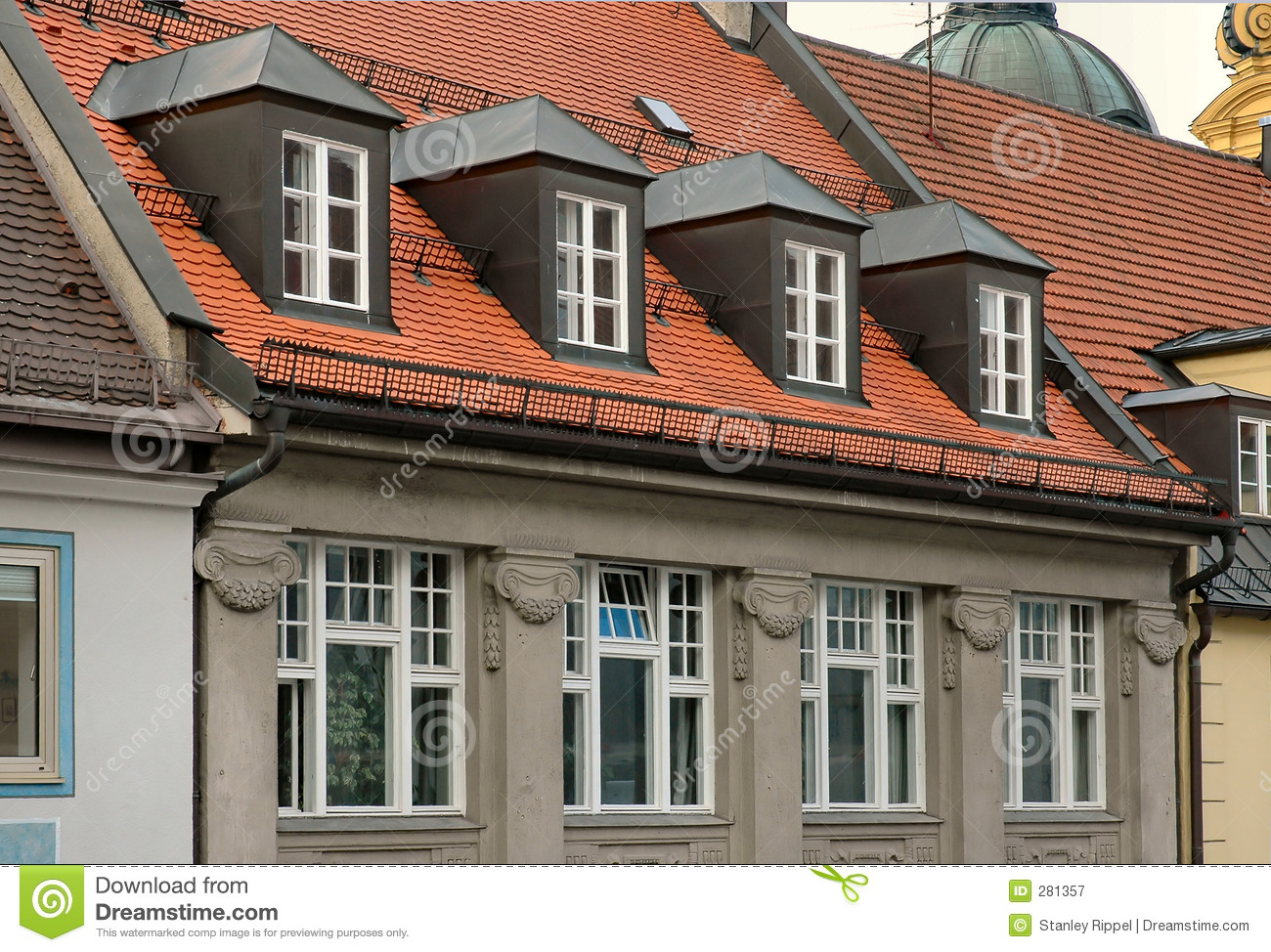 Ideal Red Tile Roof And Gabled Dormer Windows In Munich, Germany Stock  DN38